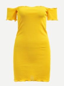 Off Shoulder Lettuce Trim Solid Dress