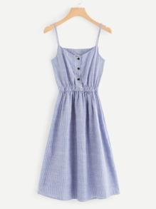 Button Detail Striped Cami Dress