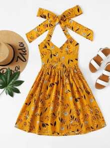 Floral Print Halter Dress