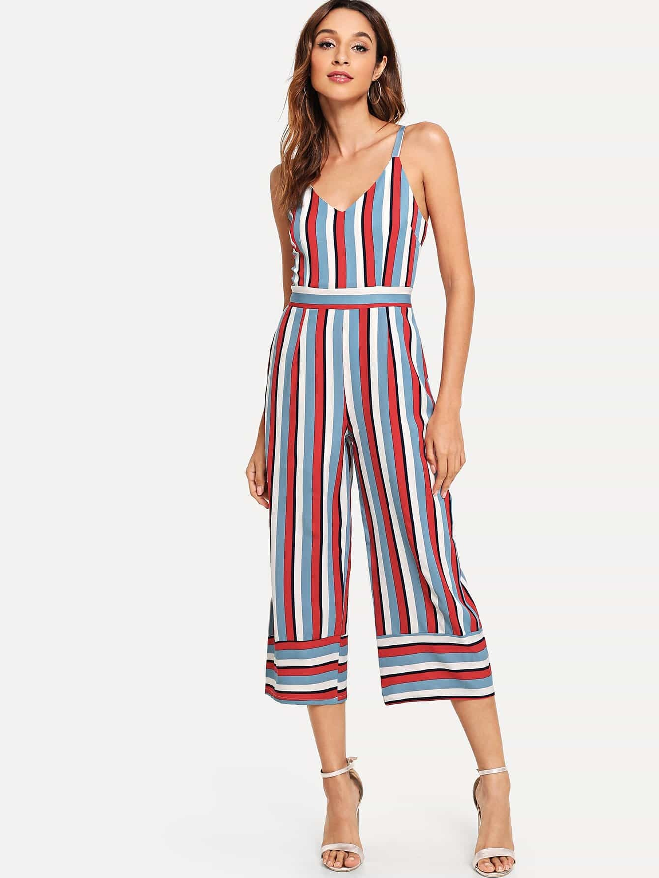 Colorful Striped Cami Romper