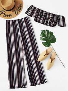 Off Shoulder Striped Crop Top With Pants