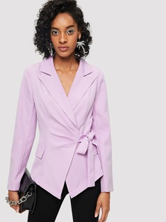Notch Collar Knot Front Tailored Blazer