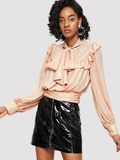Tie Neck Ruffle Trim Wide Hem Top
