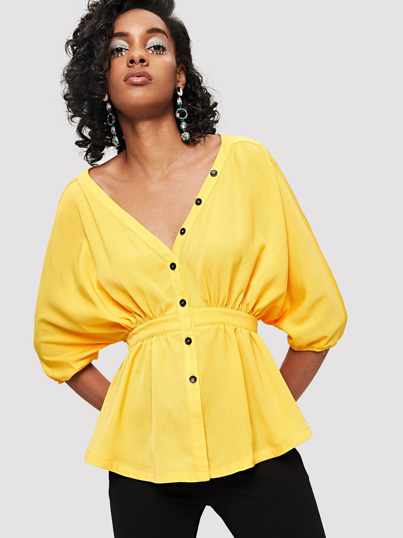 Dolman Sleeve Button Up Peplum Blouse