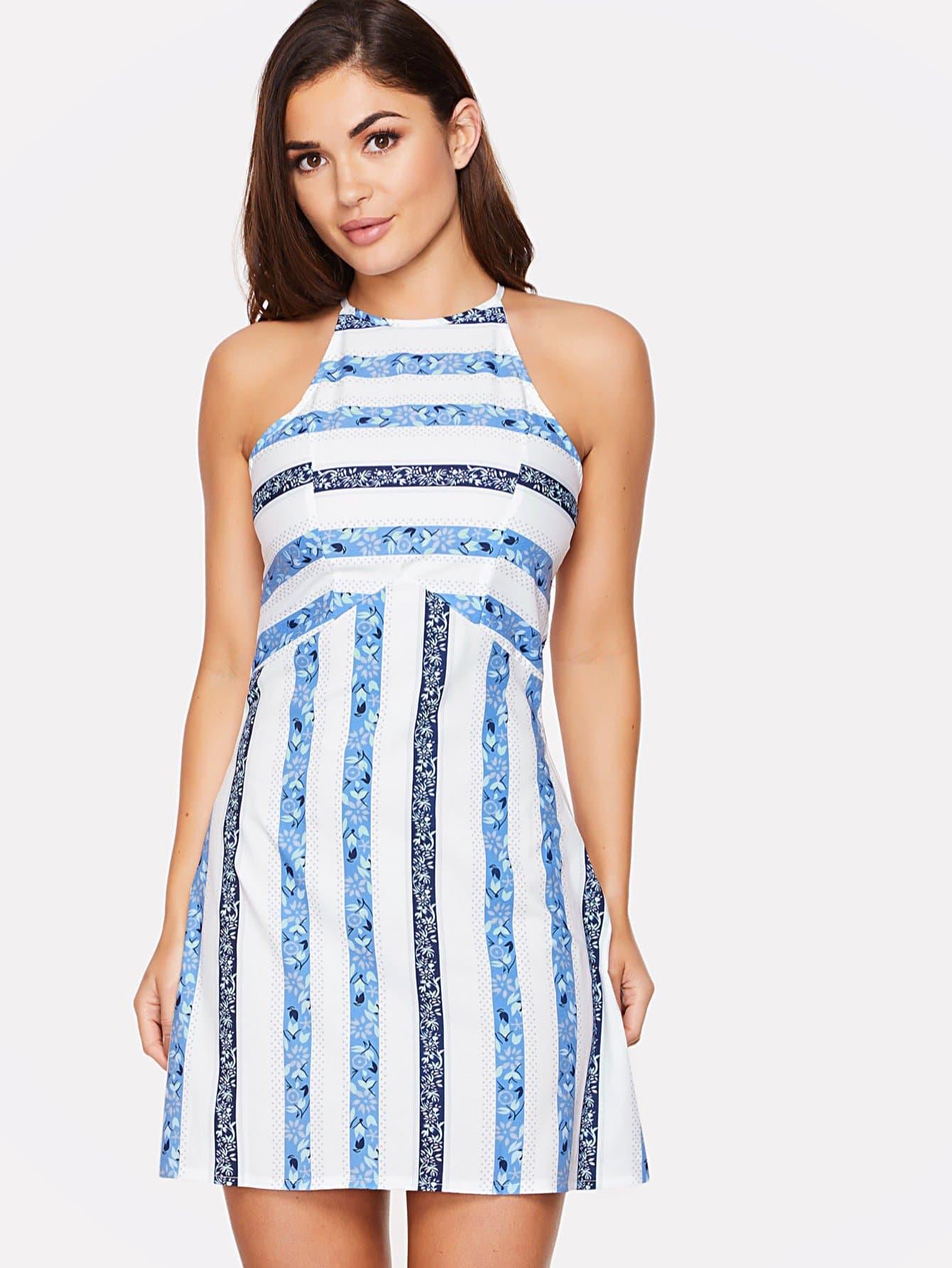 Striped Sleeveless Mini Dress knitted striped mini dress