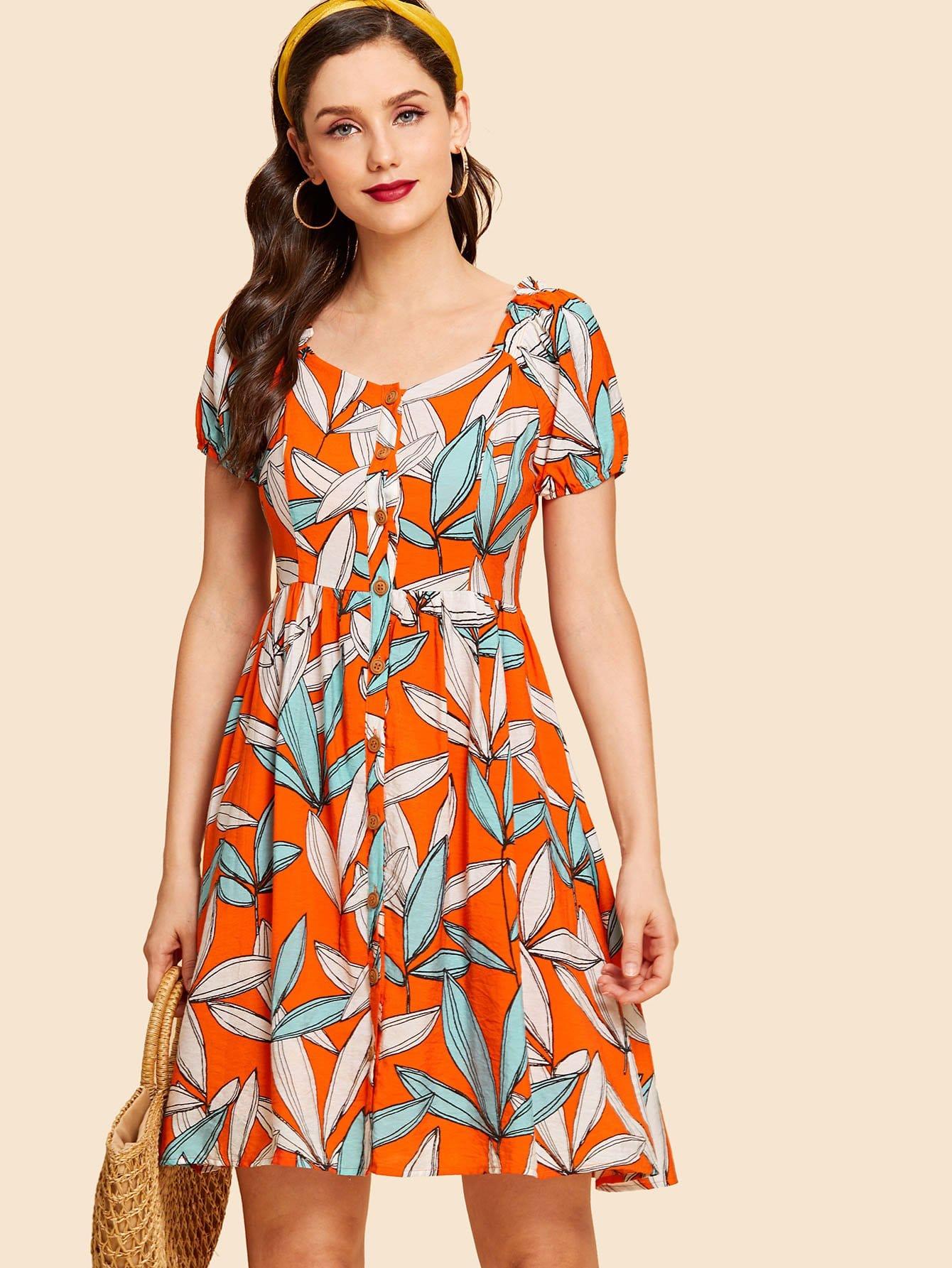 Купить Платье с пуговицами и принтом листья, Julie H., SheIn
