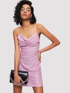Crisscross Glitter Cami Dress