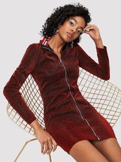 Striped Mock Neck O-Ring Zip Up Glitter Dress