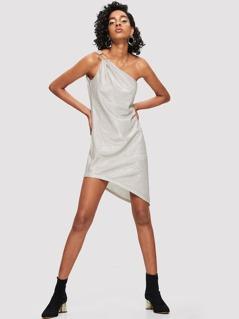 O-Ring One Shoulder Asymmetric Dress