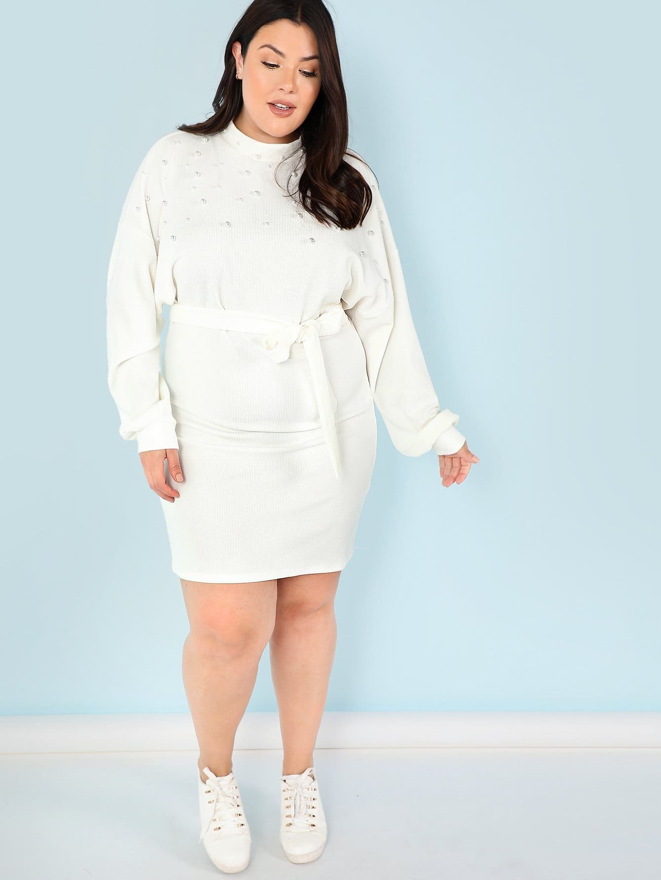 Plus Pearl Embellished Self Belted Dolman Dress набор проводов для усилителя supra sak 2 10
