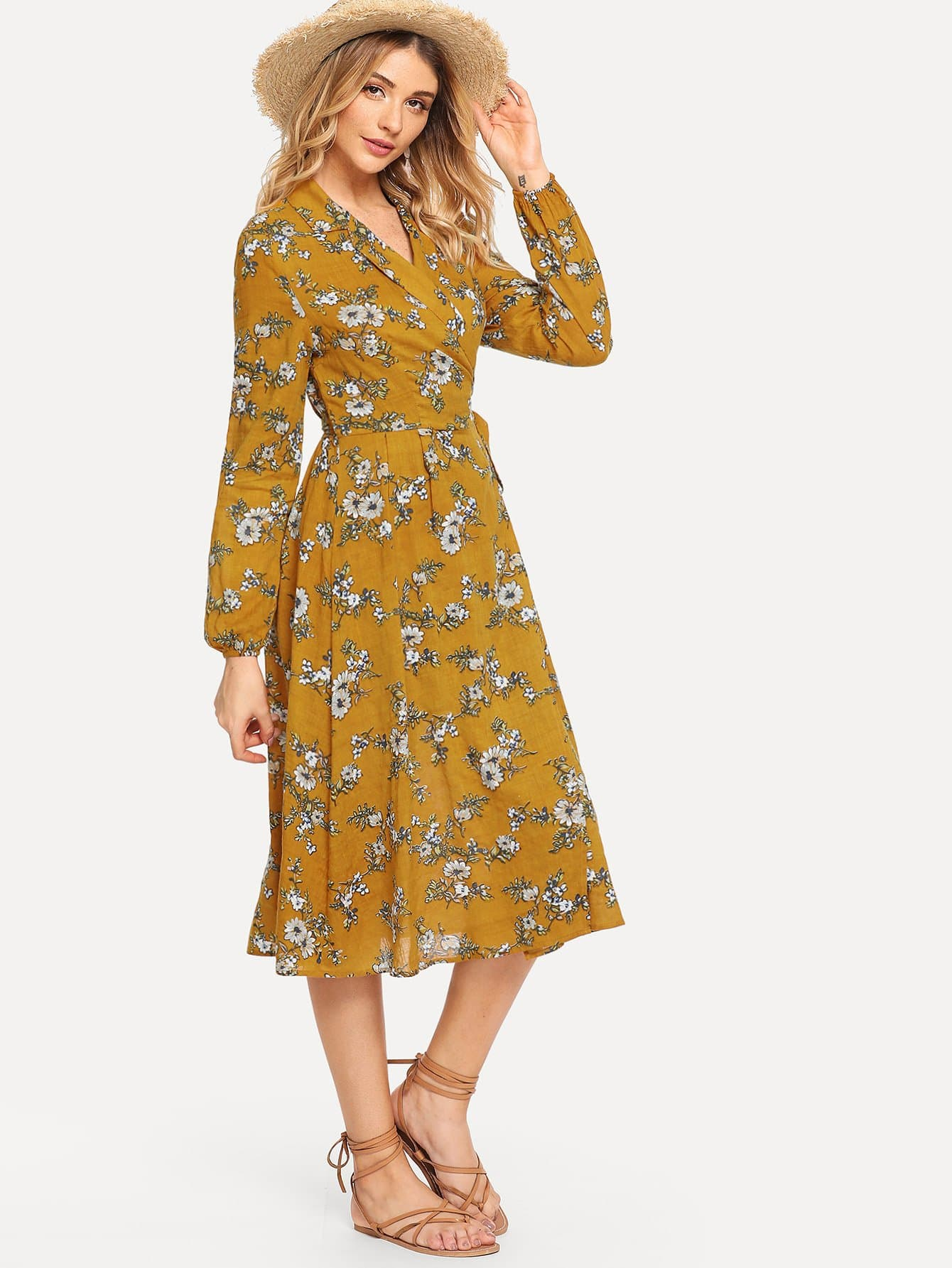 Daisy Print Surplice Wrap Dress, Nathane, SheIn  - купить со скидкой