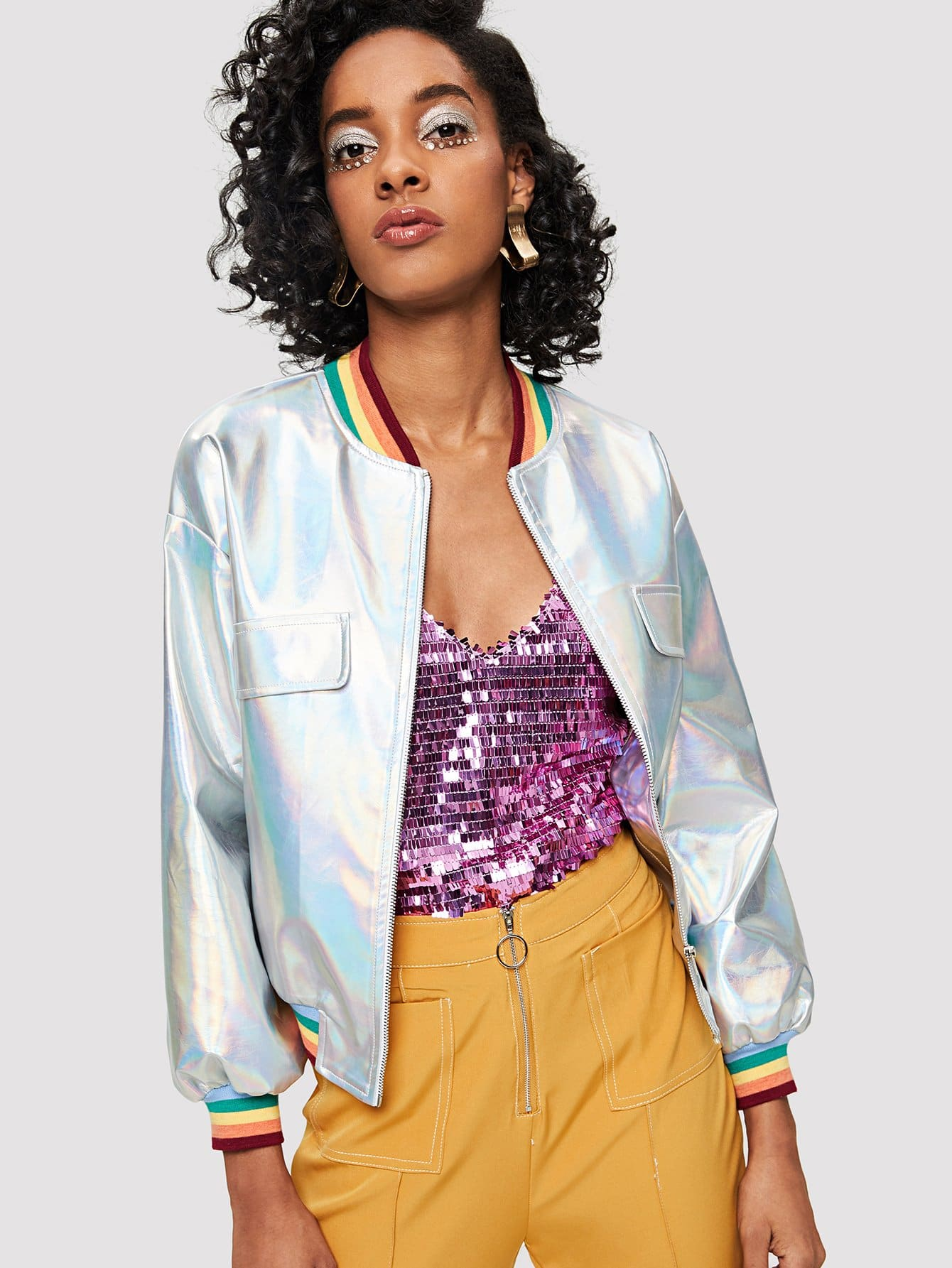 Striped Trim Iridescent Faux Leather Jacket striped trim fluffy panel bomber jacket
