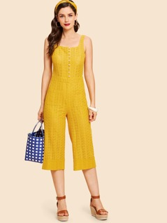 Button Front Dual Pocket Geo Culotte Jumpsuit