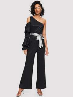 Cold Shoulder One Sleeve Wide Leg Jumpsuit