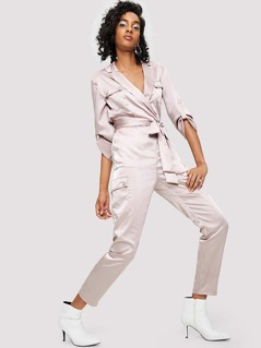 Notch Neck Pocket Detail Self Belted Jumpsuit