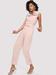 Button Up Drawstring Waist Jumpsuit