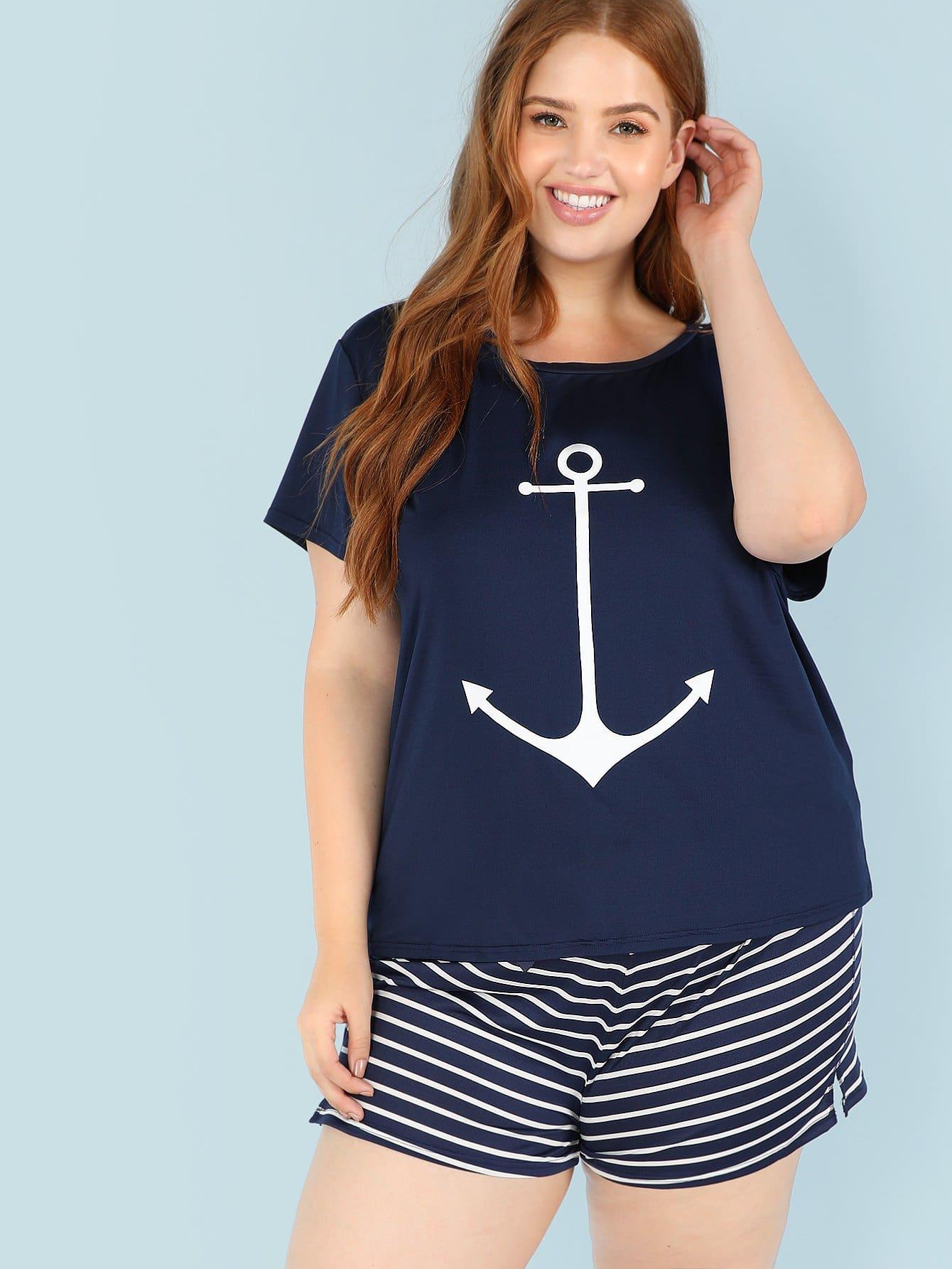 Купить Якорная печатная лента и полосатые шорты Комплект для пижамы, Bree Kish, SheIn