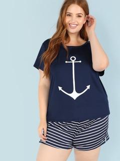 Plus Anchor Print Tee And Striped Shorts Pajama Set