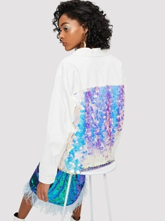 Contrast Sequin Raw Hem Button Up Coat