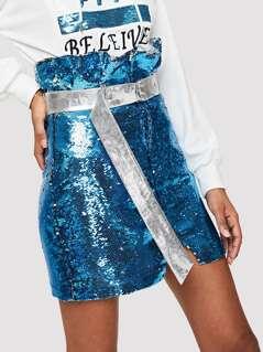 Sequin Panel Skirt