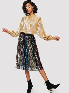 Colorful Sequin Panel Skirt