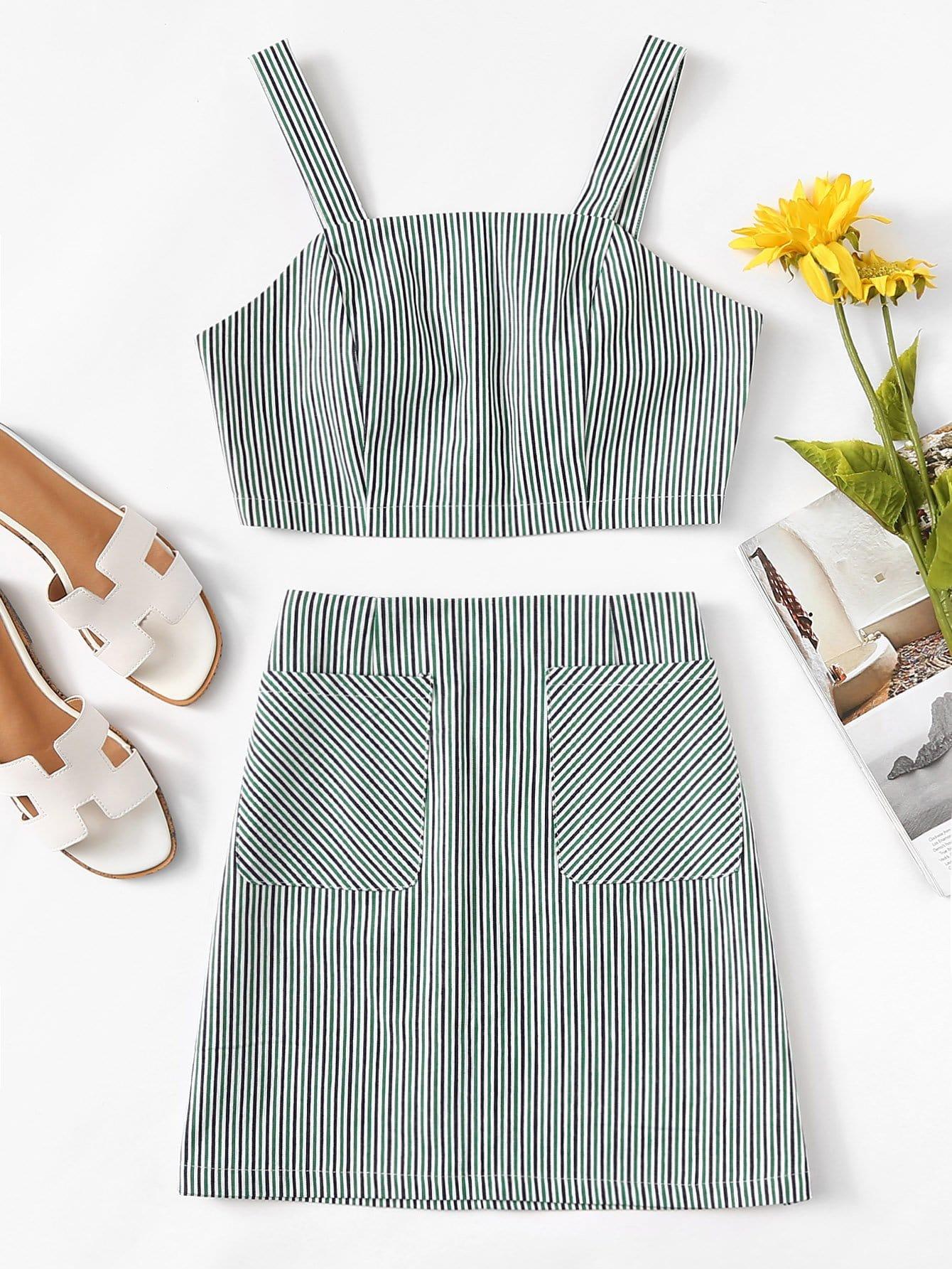 все цены на Thick Strap Top & Striped Skirt Co-Ord