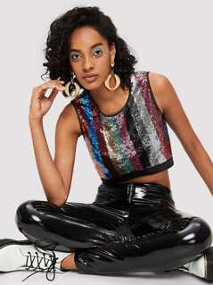Cut and Sew Sequin Crop Top