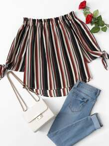 Striped Knot Sleeve Frill Blouse