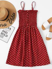 Polka Dot Single Breasted Frill Dress