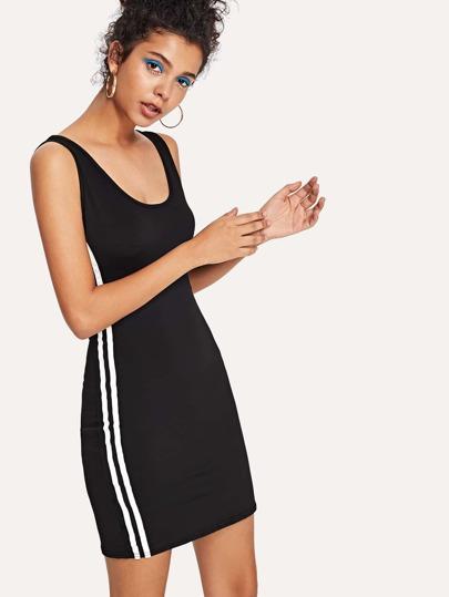 Romwe / Striped Side Scoop Neck Dress