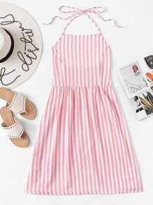 Striped Back Halter Dress