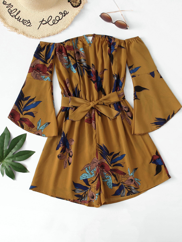 Floral Print Flounce Sleeve Belted Jumpsuit