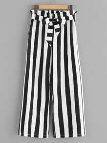 Striped Belted Frill Waist Pants