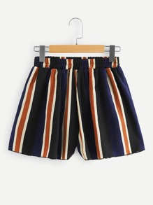 Striped Ruched Waist Shorts