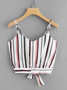 Tie Back Striped Crop Cami Top