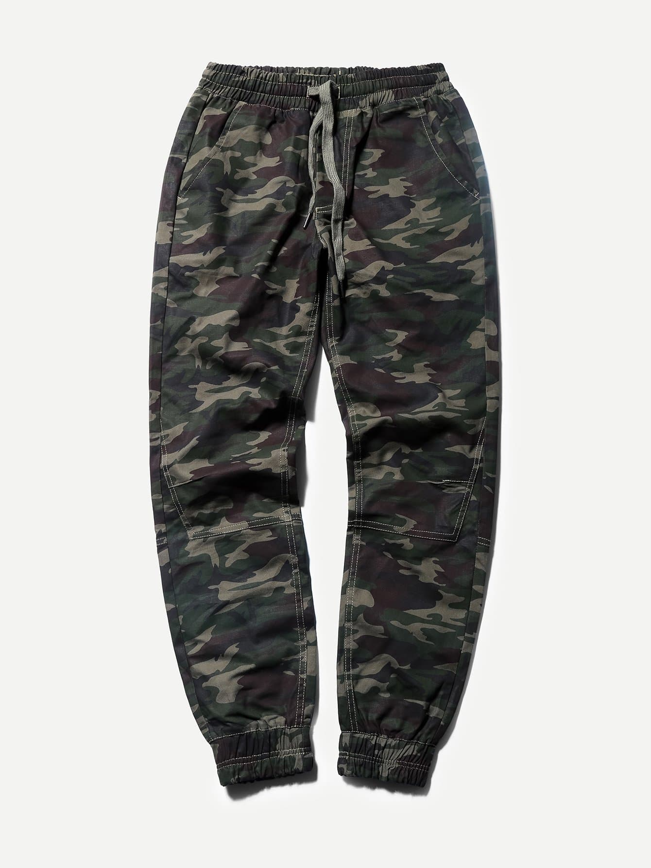Men Drawstring Waist Camo Pants idopy men s street style denim pants camouflage camo joggers stretchy drawstring biker cargo pants for hipster