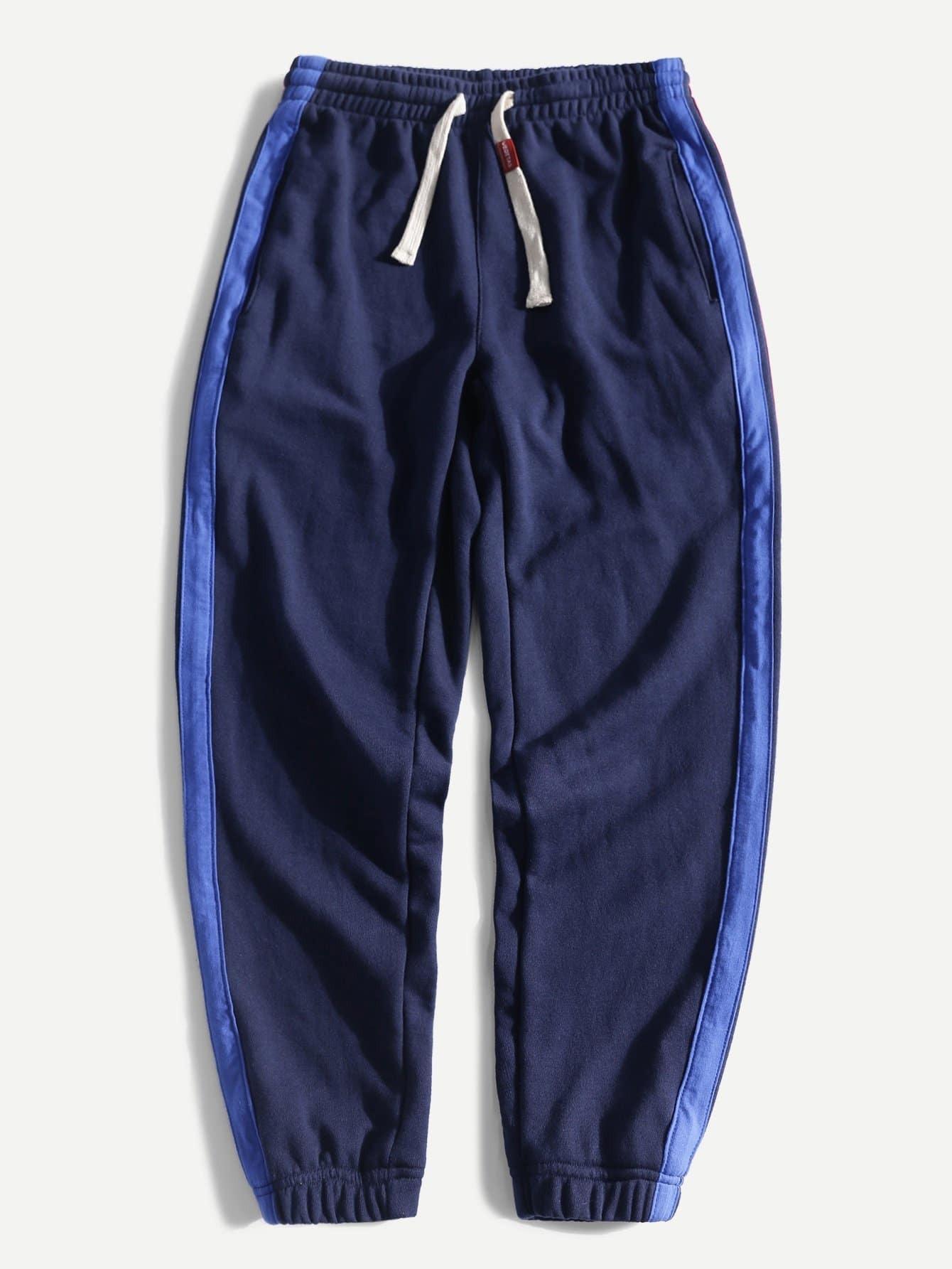Men Contrast Tape Side Pants