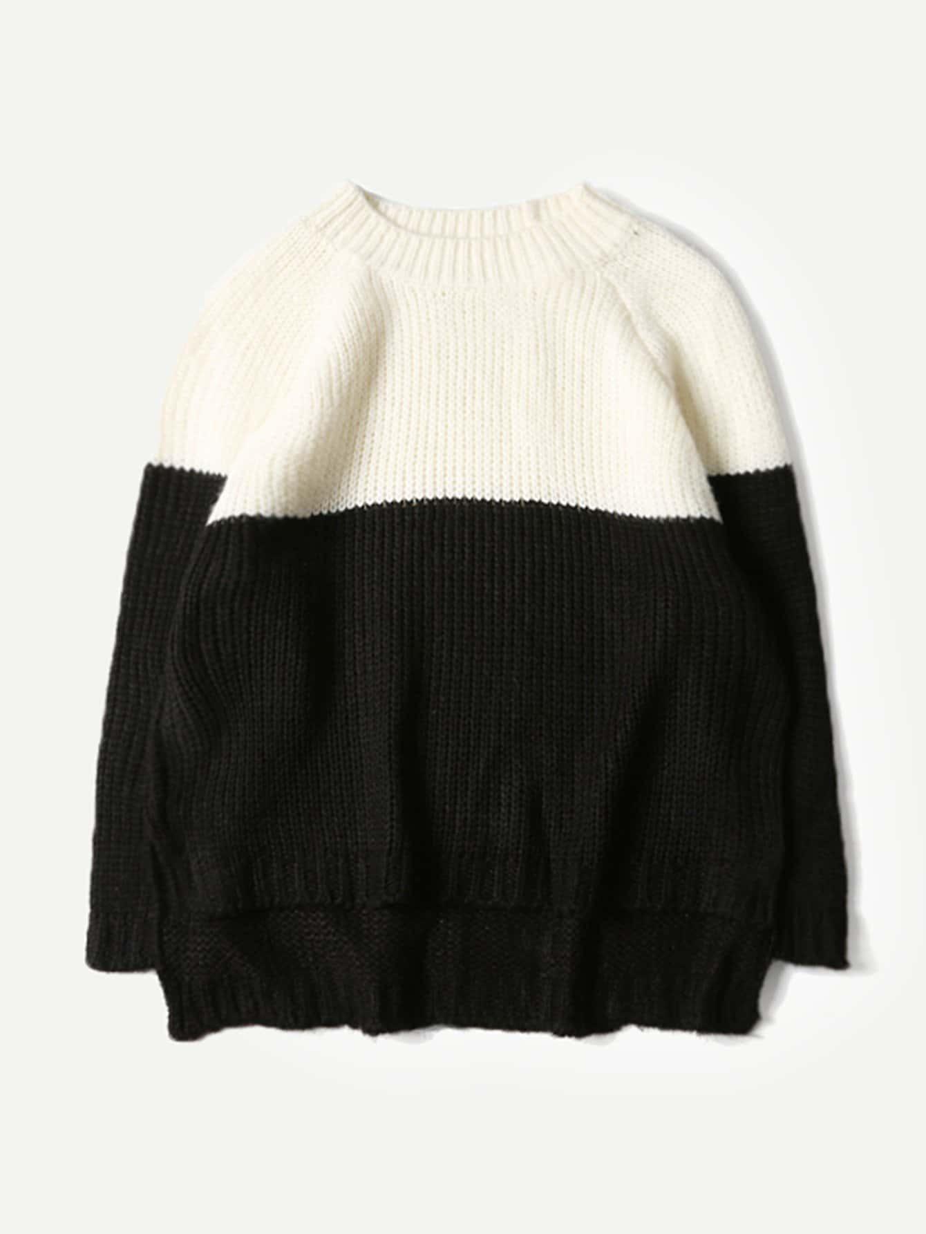 Männer Zwei Ton asymmetrischer Pullover
