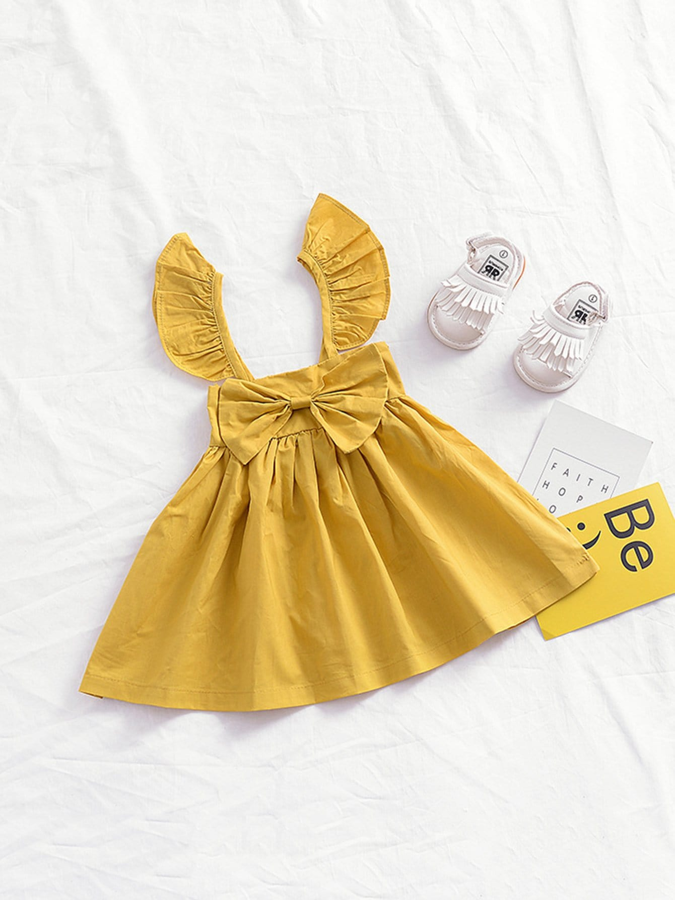 Girls Shirred Bow Decoration Plain Dress 2017 new brand baby girls summer dress kids white bow dress for girls children navy leisure fashion girls clothes