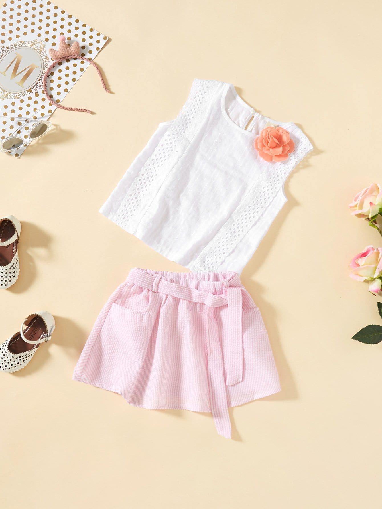 Girls Eyelet Embroidered Vest And Striped Skirt Set With Brooch fashion girls pet hand bag brooch set