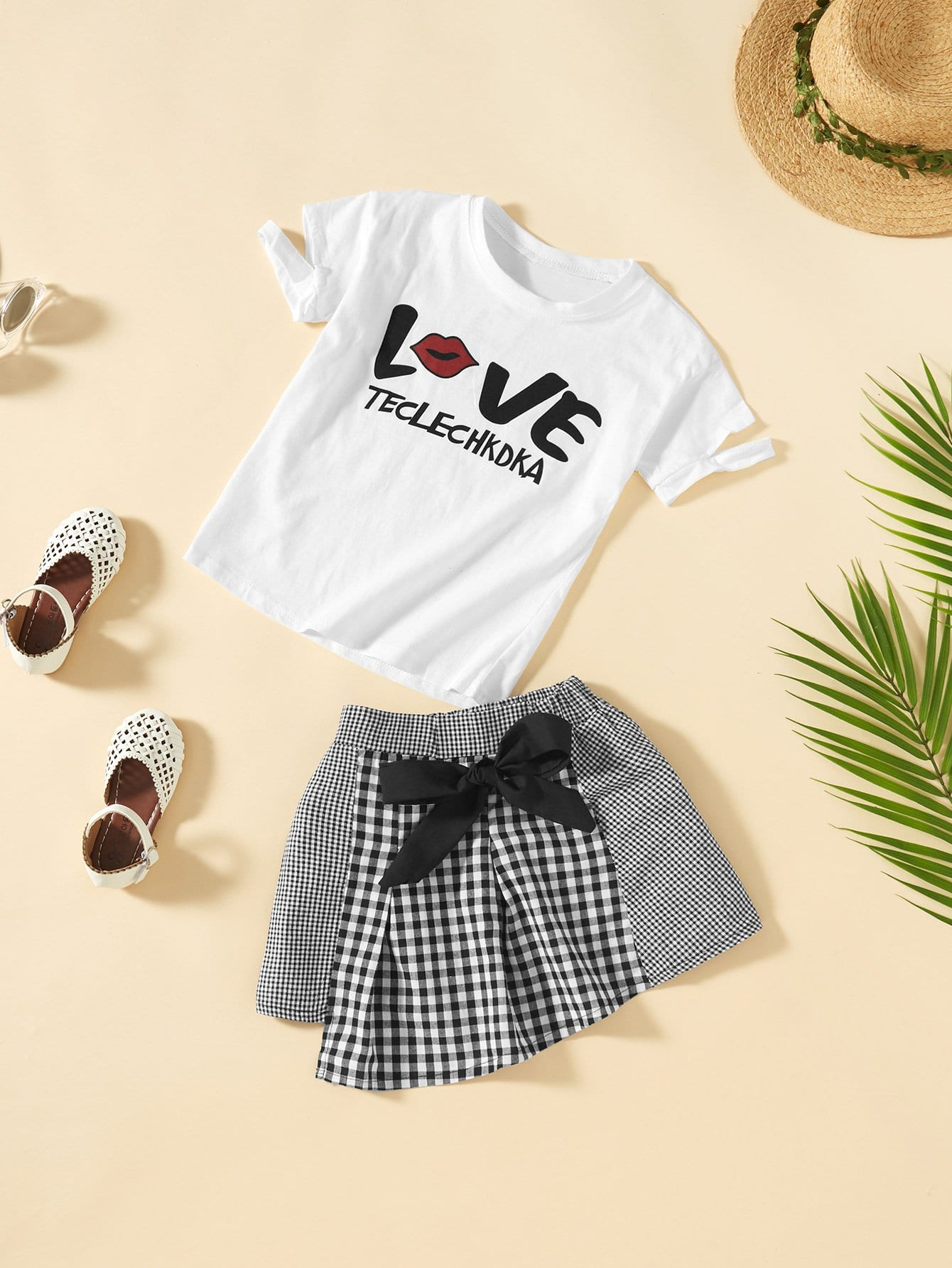 Girls Letter Print Tee With Tie Waist Gingham Skirt