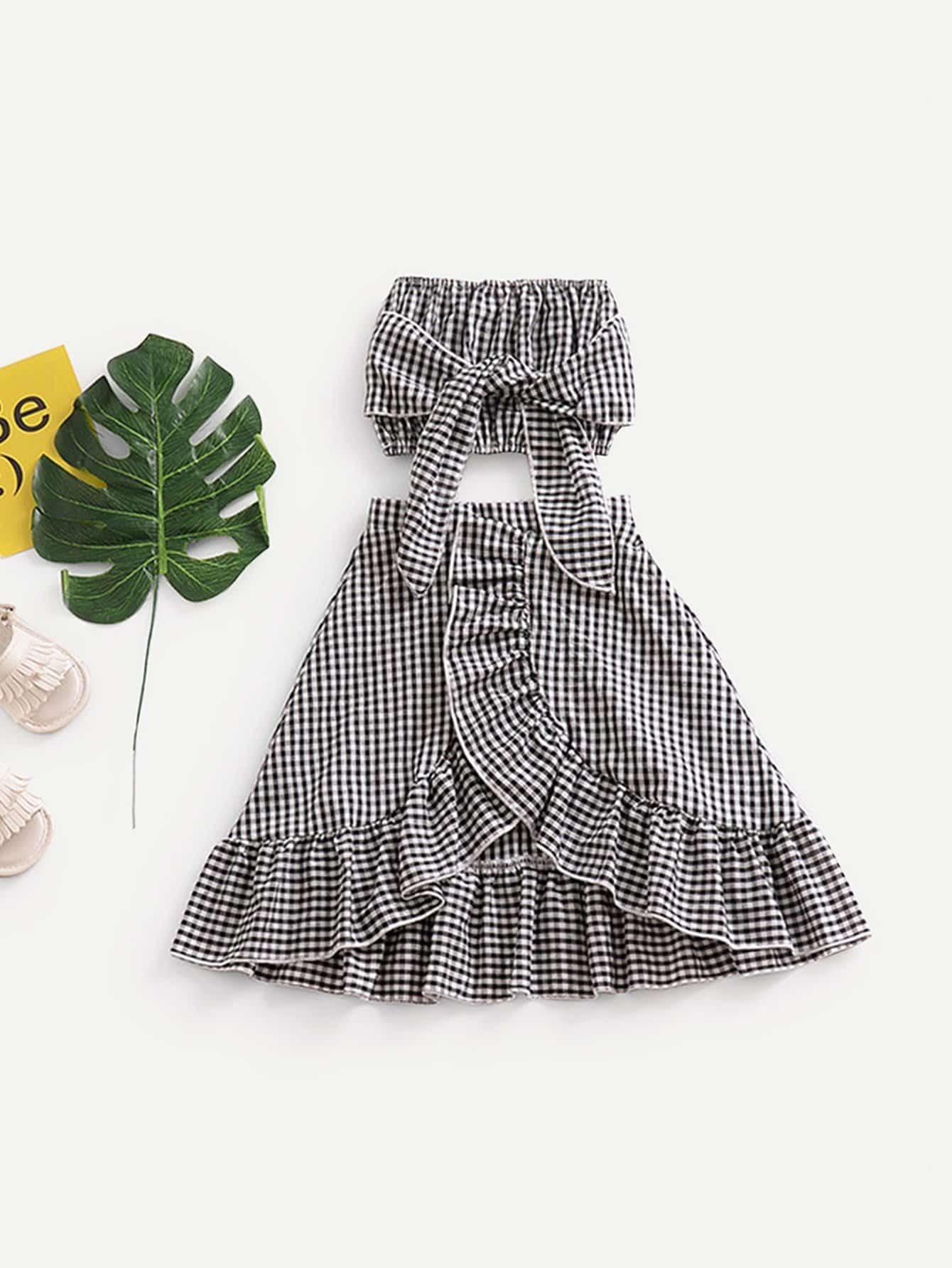 Girls Knot Gingham Top With Ruffle Hem Skirt