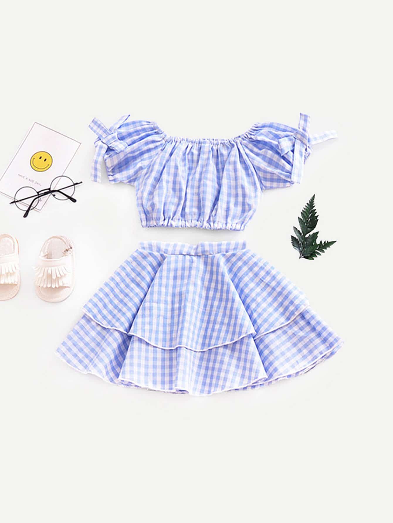 Girls Knot Gingham Crop Top With Tiered Skirt