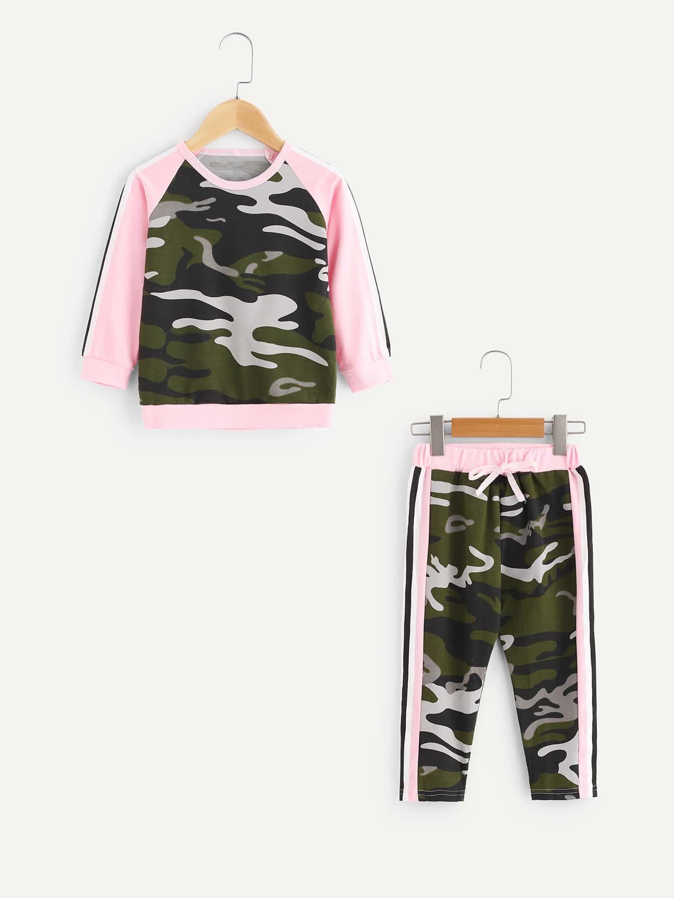 Girls Tape Detail Camo Sweatshirt With Drawstring Pants frill sleeve tape detail sweatshirt