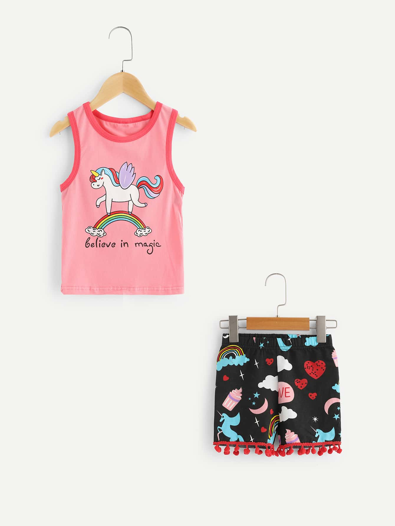 все цены на Girls Unicorn Print Vest With Fringe Hem Shorts