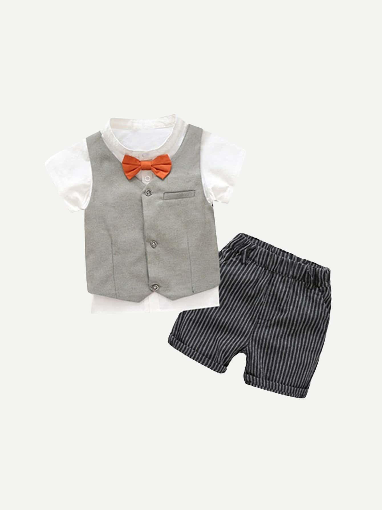 Boys Tie Neck Blouse And Striped Shorts Set With Vest boy formal suit 5pcs set tie vest top jacket pant gentlemen boys suits weddings kids prom suits boy tuexdo children clothes set