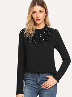 Pearl Embellished Layered Ruffle Trim Top