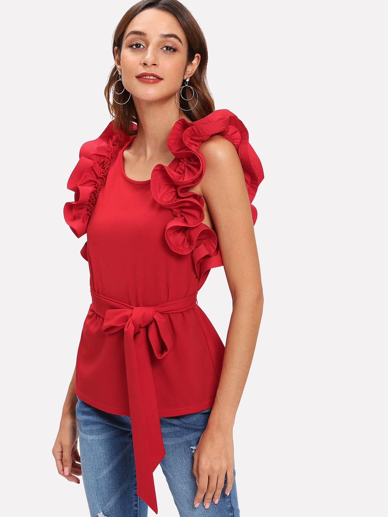 Layered Ruffle Trim Self Belted Top self belted solid ruffle trim dress