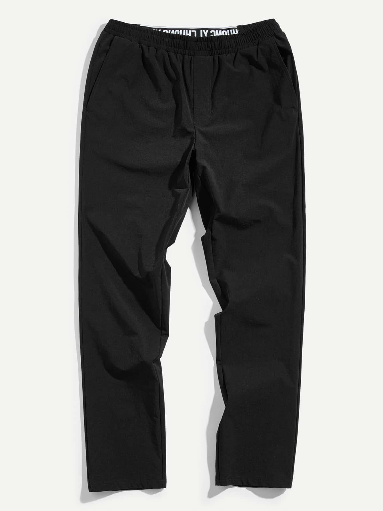 Мужчины Письмо Талия Slant Карманные брюки