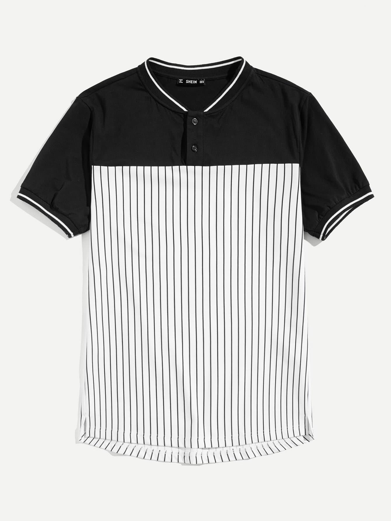 Купить Мужская вырезанная и полосатая поло полосатая рубашка, null, SheIn